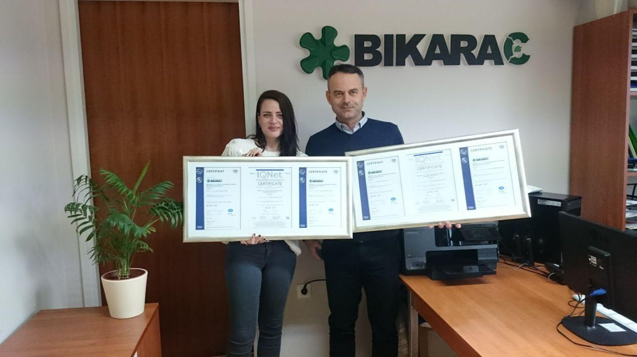 Uručenje certifikata EN ISO 9001 i EN ISO 14001 društvu Bikarac d.o.o. Šibenik